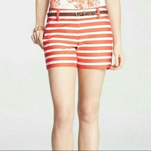 ANN TAYLOR ORANGE COTTON STRIPED SHORTS